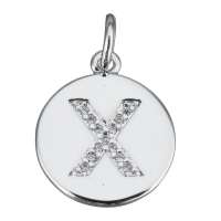 Подвеска Буква X, медальон,  цвет платина