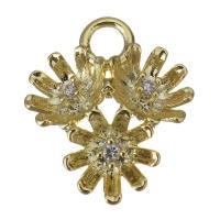 Подвеска Соцветие, прозрачные фианиты; цвет золото
