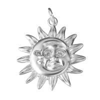 Подвеска Солнце 19мм +2 фианита;  цвет платина