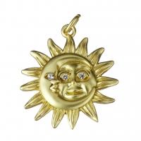 Подвеска Солнце 19мм +2 фианита;  цвет золото