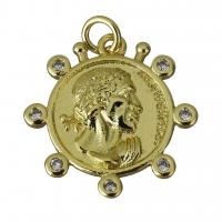 Подвеска Монета Профиль и 7 фианитов, цвет золото