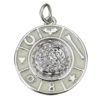 Подвеска круг Символы; цвет платина