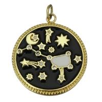 Подвеска Зодиак, чёрная эмаль; цвет золото