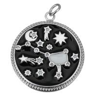 Подвеска Зодиак, чёрная эмаль; цвет платина