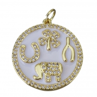 Талисман эмаль Символы с фианитами, 21мм; цвет золото