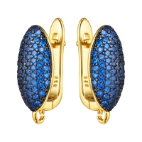 Швензы Объёмный Овал, полная инкрустация Синяя шпинель, цвет золото