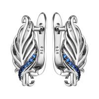 Швензы Листочек с синей шпинелью, цвет платина