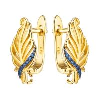 Швензы Листочек с синей шпинелью, цвет золото