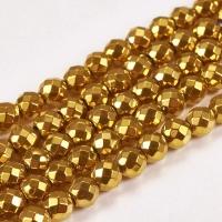 Гематит гранёный 6мм, цвет Золото; нить 38см