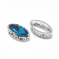 Кристалл в оправе Вензель Платина, форма Navette, 17*9мм, Capri Blue