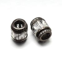 Бусина Бочонок с прозрачными кристаллами, цвет чёрный