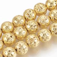 Лава Золотая, 10мм шар, полная нить=39см