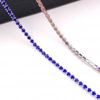 1,5мм Стразовая Цепь Южная Корея, цвет Sapphire, родий