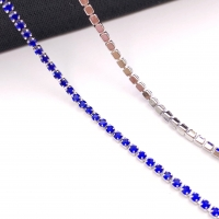 1,5мм Стразовая Цепь Южная Корея, цвет Sapphire, отрезок 50см; родированная