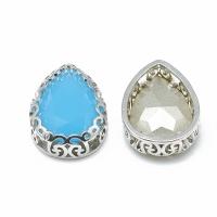 Кристалл в оправе Вензель Платина, форма Капля,16*12мм, голубой Опал
