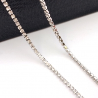 1,5мм Стразовая Цепь Южная Корея, цвет Crystal; родированная