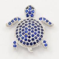 Черепашка с синими фианитами, цвет платина