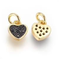 Подвеска mini Сердце с чернением и фианиты; цвет золото