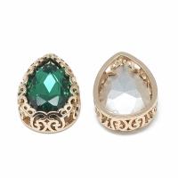 Кристалл в оправе Вензель Золото, форма Капля 16*12мм, Emerald