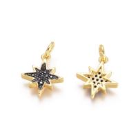 Подвеска mini Звезда с чернением и фианиты; цвет золото