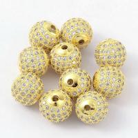 Бусина Шар, цвет золото, прозрачные цирконы, 10мм