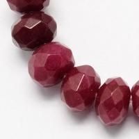 Халцедон гранёный Рондель, 6*4/5мм, 85 бусин, цвет рубин