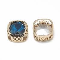 Кристалл в оправе Вензель Золото, форма Квадрат,12мм, Capri Blue