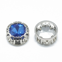 Кристалл в оправе Вензель Платина, форма Круг, 12мм, Light Sapphire