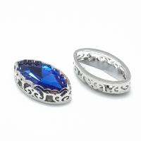 Кристалл в оправе Вензель Платина, форма Navette, 17*9мм, Sapphire