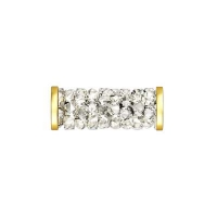 Swarovski Fine Rocks Tube 15мм  #001 Moonlight с золотыми Спейсерами (арт.5950)
