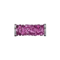 Swarovski Fine Rocks Tube 15мм  #502 Fuchsia, стальные Спейсеры (арт.5950)