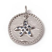 Подвеска Медальон Морская Звезда с голубыми фианитами; цвет платина