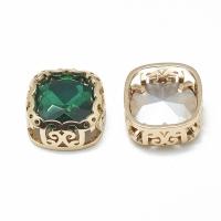 Кристалл в оправе Вензель Золото, форма Квадрат,12мм, Emerald