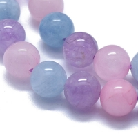 Микс Аметист/Аквамарин и Розовый Кварц, шар гладкий 8мм; нить 39см