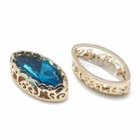 Кристалл в оправе Вензель Золото, форма Navette, 17*9мм, Capri Blue