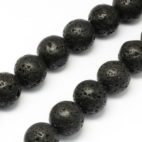 Лава чёрная, 4-5мм шар, полная нить=37см