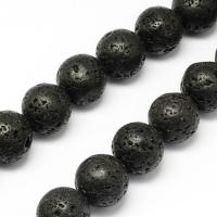 Лава чёрная, 8мм шар, полная нить=38см