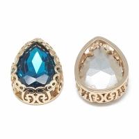 Кристалл в оправе Вензель Золото, форма Капля 16*12мм, Capri Blue