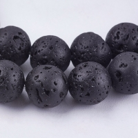 Лава чёрная, 10мм шар, полная нить=38см