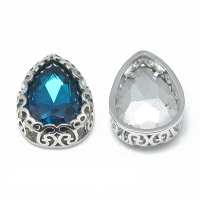 Кристалл в оправе Вензель Платина, форма Капля 16*12мм, цвет Capri Blue