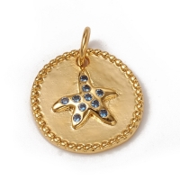 Подвеска Медальон Морская Звезда с голубыми фианитами; цвет золото