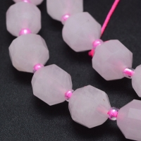 Розовый Кварц гранёный 10*9мм; 10 бусин