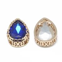 Кристалл в оправе Вензель Золото, форма Капля 16*12мм, Sapphire