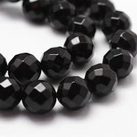 Агат гранёный Чёрный, шар 6мм, 60 бусин