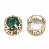 Кристалл в оправе Вензель Золото, форма Круг, 12мм, Emerald