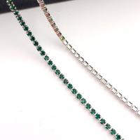 1,5мм Стразовая Цепь Южная Корея, цвет Emerald, отрезок 50см; родированная