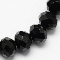 Жадеит гранёный Рондель, 3*2мм, 150 бусин, цвет чёрный оникс