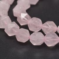 Розовый Кварц, грани 10мм; нить 19см