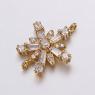 Коннектор Цветок-Снежинка с крупными фианитами, 15,5*20мм, цвет золото
