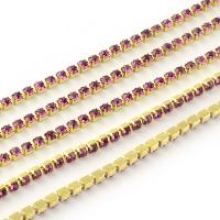Стразовая цепь, арт.27, размер 2,2мм; Fuchsia; золото - 50 см